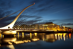 "This is a photo of the Samuel Beckett bridge in Dublin, Ireland. I have titled it ""City strings"" because this bridge in my opinion resembles a harp."