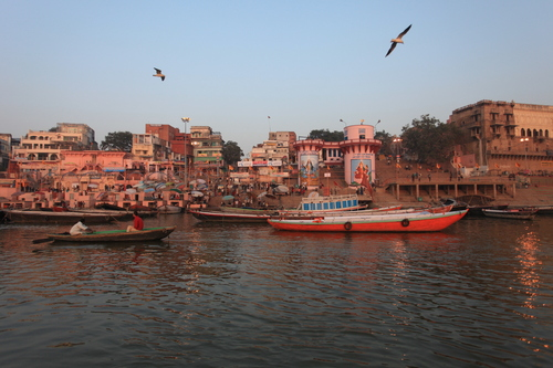 View of Varanasi, known as Benares, The Holy City of India, from Ganges River.
