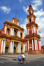 A beautifully coloured cathederal in Salta.