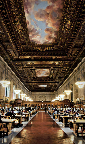 Declared as a National Historic Landmark in 1965, The Stephen A. Schwarzman Building is the flagship building in the New York Public Librarysystem and a prominent historic landmark in Midtown Manhattan. Opened in 1911 and located on Fifth Avenue at its intersection with 42nd Street. In 2008, the library was renamed in honor of Stephen A. Schwarzman, in recognition of his agreement to donate $100 million toward the renovation and expansion of the building. The Library's majestic Rose Main Reading Room is lined with thousands of reference works on open shelves along the floor level and along the balcony.