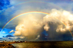 A great rainbow after a shower on the prom.
