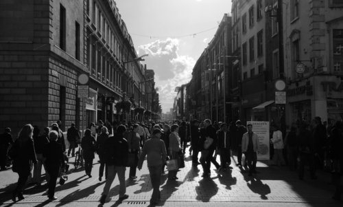 A Bl&W shot of Dublin's Henry Street in the early evening sunshine.