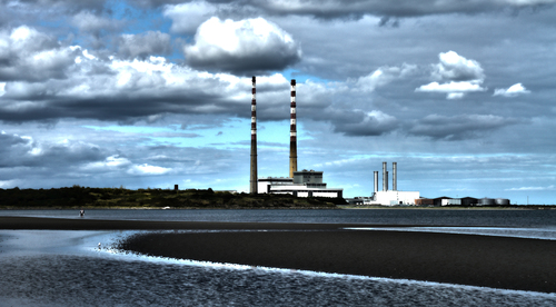 HDR shot of poolbeg towers from Sandymount Beach in Dublin