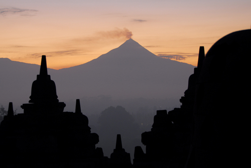 Mount Merapi, seen through the ruins of Borobudur.
