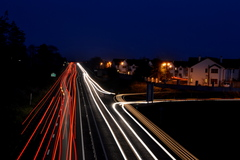 Light trails along the N24 at Fiddown in County Kilkenny, Ireland.