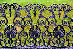 A decorative garden seat in Woodstock gardens, Inistioge,County Kilkenny, Ireland.