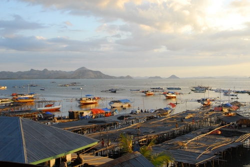Traditional fishing boats moored for the evening in Labuan Bajo.