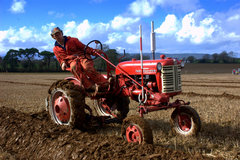 A picture of a vintage tractor in a local ploughing competition.