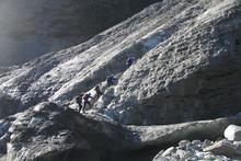 Trekkers making their way up the 12km long Franz Josef Glacier.