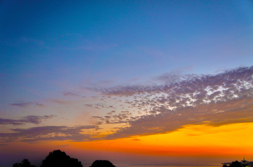 Nice Colourful Sky in Albuferia Portugal as a result of sunset.