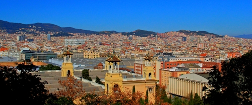 A view of Barcelona from  Palau Nacional  (now the MNAC Museum ) .