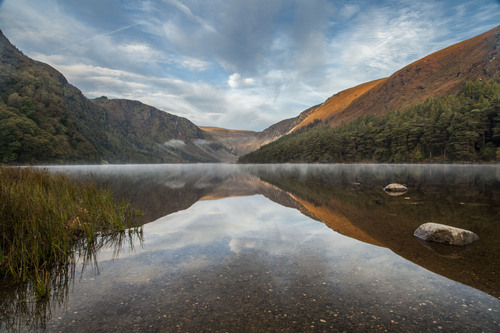 Early morning at Upper Lake, Glendalough, Wicklow Mountains National Park.