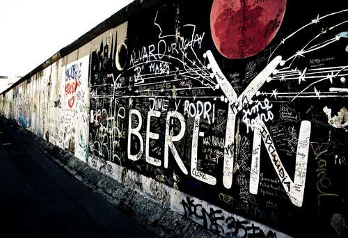 Part of the remaining Berlin wall which has become a street gallery for local artists.