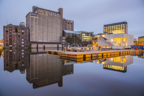 Grand Canal Dock is the point at which the Grand Canal meets Dublin's river Liffey.