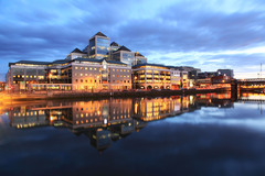 Evening reflections on the river Liffey, George's Quay, Dublin.