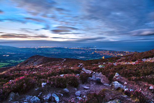 View from the Little Sugar Loaf, Wicklow, north across Dublin city and Dublin Bay.