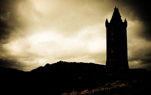 The forboding outline of Scarbo Tower in County Down.