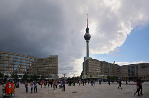 Wide angle view of the AlexanderPlatz