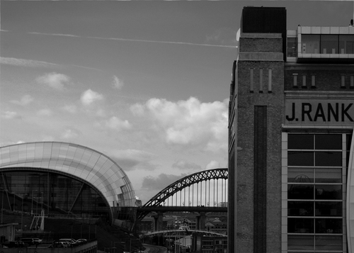 A view of The Baltic Art Gallery, The Sage and the Tyne Bridge from a Tower Crane on the South Shore Road