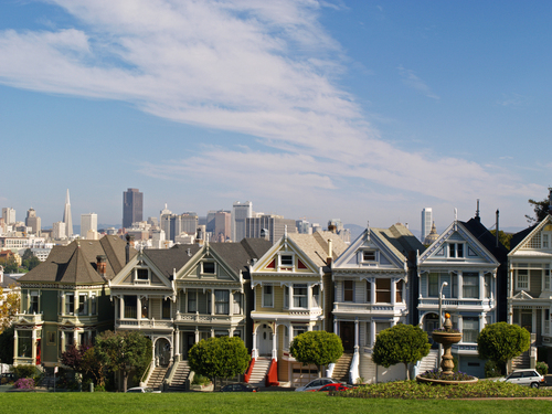 Morning view of the Victorian houses known as the Painted Ladies in Alamo Square in San Francisco.