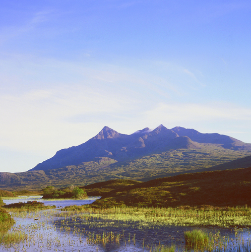View of the Cuillin Hills in late September from Sligachan Bridge on the Isle of Skye in the Western Isles of Scotland.