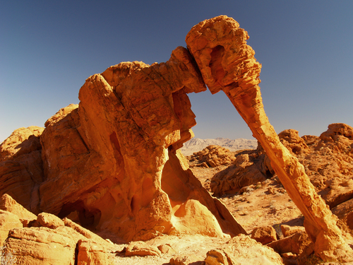 The Elephant Rock is one of the key geological features of the Valley of Fire State Park in south eastern Nevada.