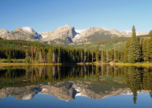 Perfect mirror reflections on Sprague Lake in Rocky Mountain National Park in Central Colorado
