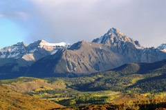 View of the Sneffels Range in evening light as seen from the Dallas Divide in early October in the San Juan Mountains of south west Colorado.