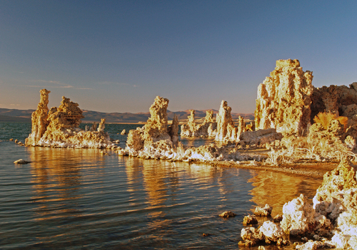 Evening light strikes the strange tufa rock formations of Mono Lake in eastern California.