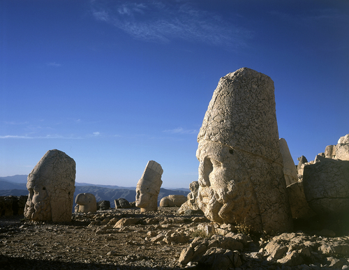 Giant Stone Heads of the Gods on the western terrace on Mount Nemrut in central Turkey.