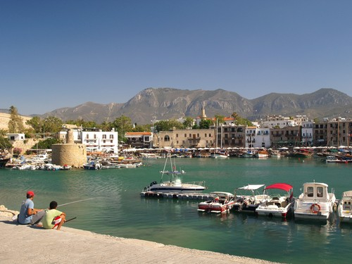Summer view of the attractive old harbour of Kyrenia in Northern Cyprus