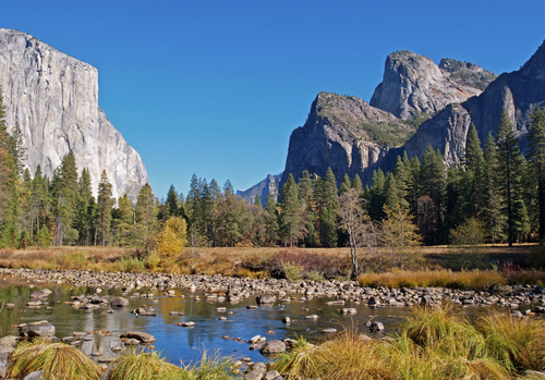 El Capitan and the Merced River as it flows through Yosemite National Park in early November.