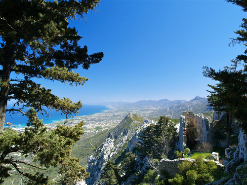 View looking east over the Besparmak Range from St Hilarion Castle perched above Kyrenia in Northern Cyprus.