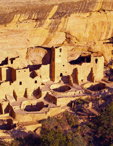 The Cliff Palace bathing in evening light at Mesa Verde National Park in south western Colorado.
