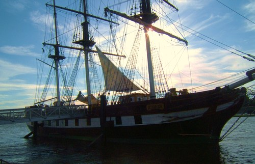 A replica of the Dunbrody Famine Ship, located on the quay in New Ross, Co. Wexford, Ireland.