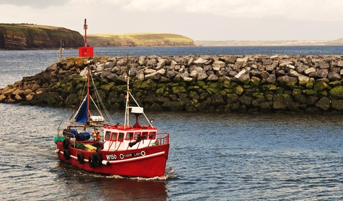 A fishing boat returns safely to the environs of Dunmore East after time spent at sea.