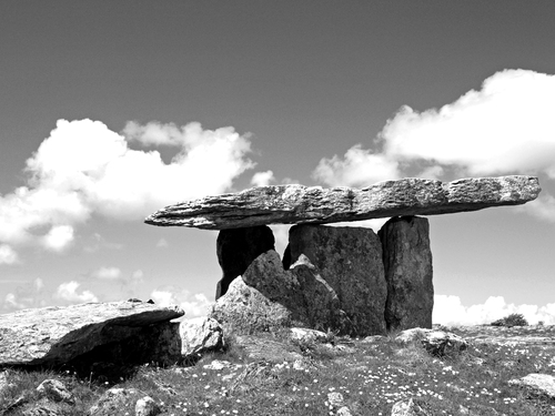 Black & White treatment of the Neolithic Poulnabrone Dolmen on the Burren near Ballyvaughan in Country Clare.