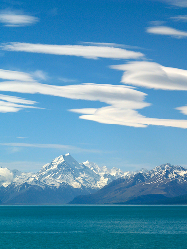 View of Mount Cook across the turquoise glacial waters of Lake Pukaki taken near Twizel in the Mackenzie Country of new Zealand's South Island.