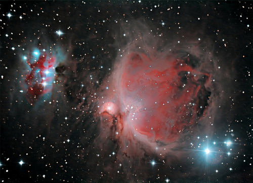 Location: Killygordon, Co. Donegal, Ireland. Time: 20:00-03:00 Date: 06/07 Jan 2011 Target: Orion and Running Man Nebulae