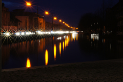 10sec exposure of traffic standing still on a busy evening along the Grand Canal