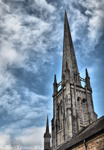 The spire of Lismore Cathedral, Lismore, Co. Waterford, Ireland.