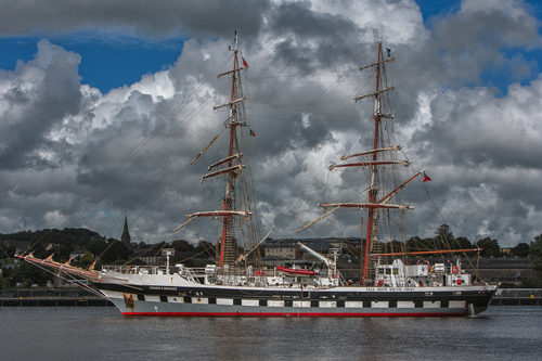 The British brig-rigged STAVROS S.NIARCHOS arrives in Waterford City during the Irish leg of the Tallships race 2012.