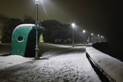 Clontarf seafront in the snow on a cold winter's night.