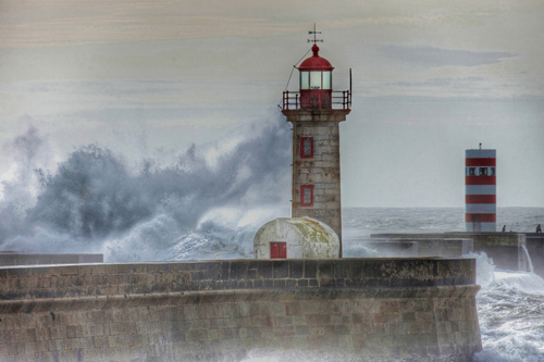 The Felgueiras lighthouse at Oporto city, Portugal.