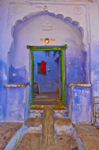 A traditional blue Rajasthani house in Bundi