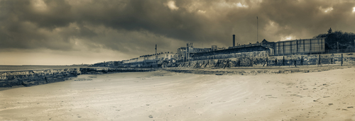 Looking south from the now derelict Blackrock Baths.