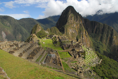 A high level view of the ruins at Machu Pichu.