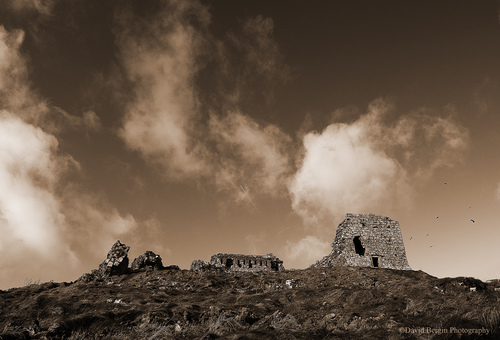 """The Rock of Dunamase (Irish:Dún Másc, """"the fort of Másc"""") is one of the most historic sites in Ireland. Its ruins date back to the late medieval period. The Rock stands 46m tall in the heart of what is otherwise a flat plain, and was ideal as a defensive position with its view right up to the Slieve Bloom Mountains."""