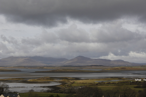 A view of Achill from Croagh Patrick, rain clouds coming