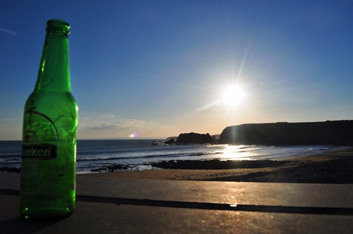 Sitting in the Sun at Annestown Beach, Co. Waterford.